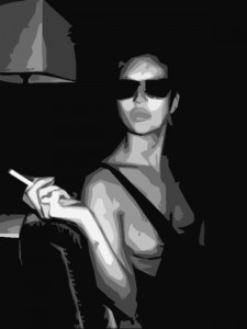 A woman showing her tits and smoking a cigarette at dinner