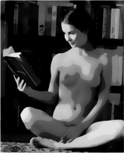 A naked woman reads an erotic novel