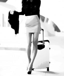 A hot woman walking anticipates airplane sex